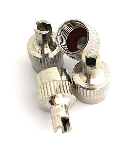 4er-Set Metall-Ventilkappen mit Schlüssel Ventilschlüsselkappe Ventilkappenausdreher für Auto Fahrrad Motorrad und Roller Autoventilkappen Radventilkappe car Valve caps