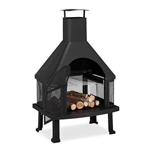 Relaxdays, schwarz Terrassenofen mit Grill, Feuerstelle mit Funkenschutz, Schürhaken, massiv, Stahl, 110 x 63 x 51 cm