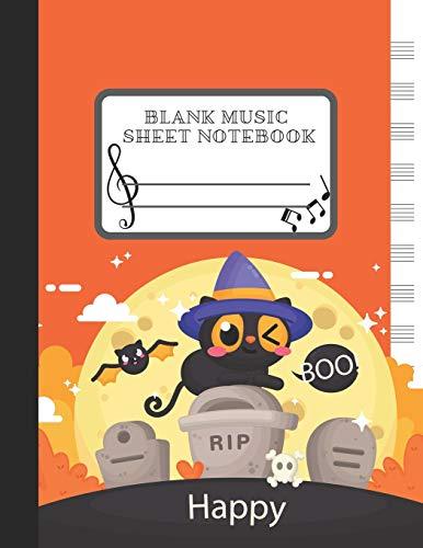 Blank Music Sheet Notebook: Halloween Orange Cat Themes Style, Music Manuscript Paper, Staff Paper, 8.5