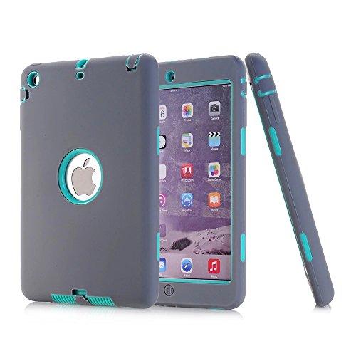 iPad Mini 2Hülle, iPad Mini 3Fall, nokea [kindgerechte Schutzhülle] Dämpfung Drei Schicht Armor Defender Full Body Schutzhülle für Apple iPad Mini 1/2/3, Grey Aqua