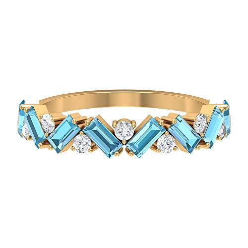 Anillo de aguamarina de corte baguette de 2x4 mm creado en laboratorio, anillo de clúster de diamantes HI-SI, anillo de media eternidad, 14K Oro amarillo, Size:EU 70