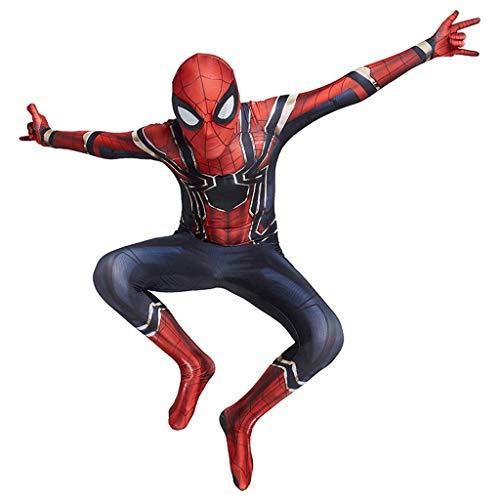 CXYGZLJ Disfraz de Halloween Cosplay, Iron Spiderman 2 Stretch Bodysuit, Lente 3D Gafas Unisex Nio Adulto Traje Stealth Stealth, Kids XL 135~150cm