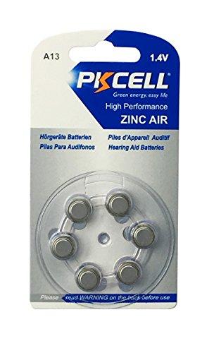 PKCELL 6 x A13 / PR48 Hörgeräte-Batterie (1 Blistercard = 6 Batterien)