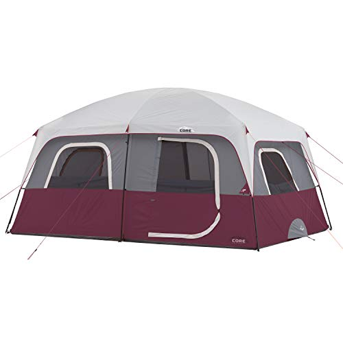 CORE 10 Person Straight Wall Cabin Tent (Wine)