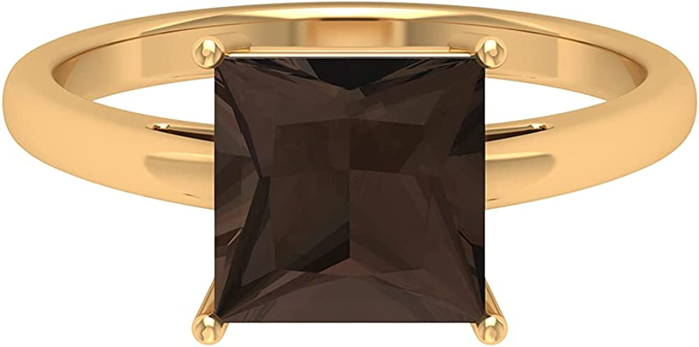 June Birthstone -2.25CT Simple Solitaire Ring with Princess Cut Smoky Quartz (AAA Quality), 14K Gold