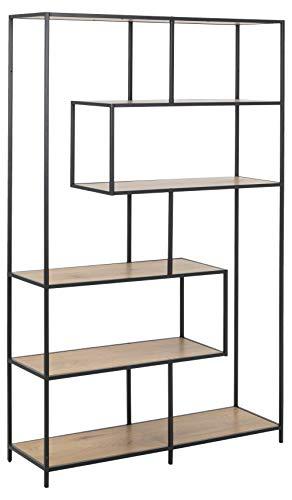 PKline Regal Sea 4 Ablagen Eiche Metall schwarz Standregal Bücherregal Raumteiler