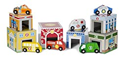 Match-and-stack set of 6 nesting cardboard buildings and 6 wooden vehicles Pair the pieces by colour and number for exciting first-concepts practice Vehicles include fire engine, school bus, recycling truck, police car, ambulance, and tow truck Build...