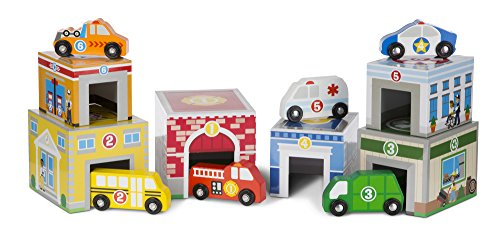 Melissa & Doug 13576 Nesting and Sorting Buildings Set with 6 Wooden Vehicles Toy, Multi-Colour