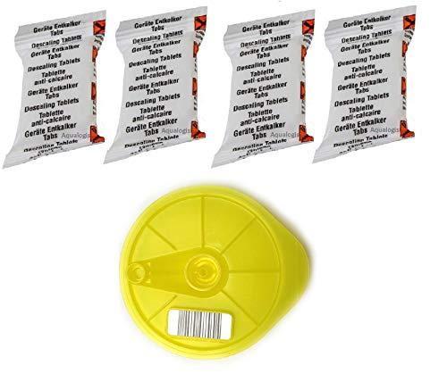 Aqualogis T-Disc 4 Entkalkungstabletten gelb, kompatibel mit Bosch 621101 Service T-Disc für Tassimo T20, T40, T65, T85, Bosch