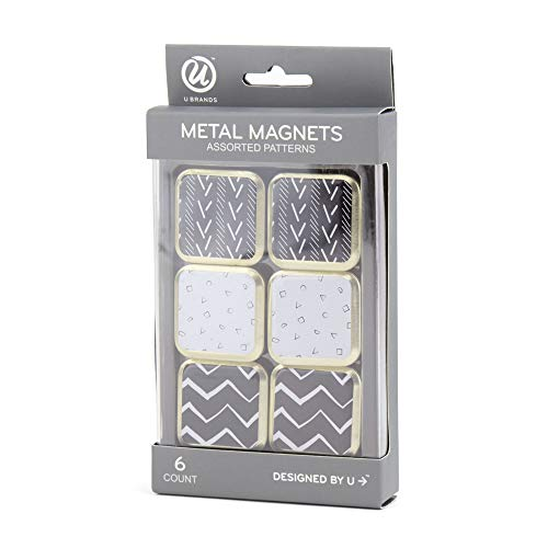 U Brands Metal Magnets, Assorted Black/White/Gold Prints, 6-Count (2158U06-24)