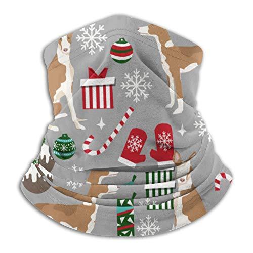 Gbyuhjbujhhjnuj Ibizan Hound Weihnachten – Graues Fleece-Halstuch, Schal, Maske, Stirnband und Mütze