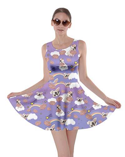 CowCow Womens Cute French Bulldog Amethyst Donuts Rainbow Skater Dress- 2XL