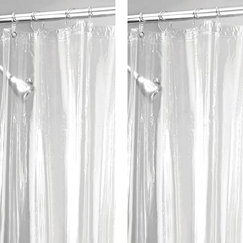 mDesign Juego de 2 cortinas de bañode PVC impermeables (extra largas) – Cortina de ducha y bañera 183 cm x 213 cm – Accesorio de baño con 12 ojales de metal – transparente