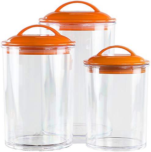 Calypso Basics by Reston Lloyd Acrylic Storage Canisters, Set of 3, Orange