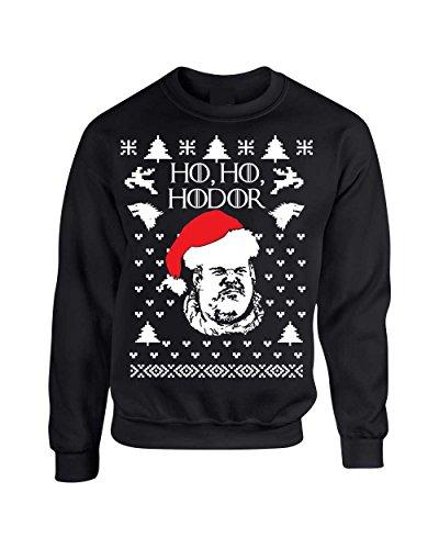 ALLNTRENDS Adult Crewneck Sweatshirt Ho Ho Hodor Ugly Christmas Sweater (L, Black)