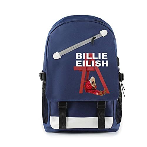 CQW Billie Eilish Bolso de Hombro con Cremallera Oblicua Bolso de Hombro con Doble cableado USB Bolso de Viaje al Aire Libre Bolso de Escuela para Estudiantes (34)
