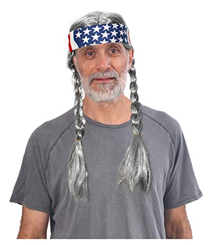 Grey Hippie Wig With American Flag Bandana Costume Wig With Bandana