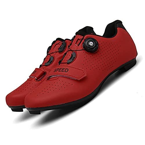 WYUKN Calzado de Ciclismo de Carretera para Hombre,Zapatillas de Spinning con Zapatilla Peloton de Cala Compatible con SPD y Delta,Red-44EU
