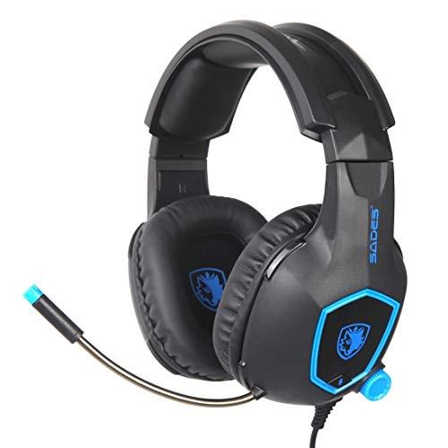 LINGNING Auriculares de Juego de SA818 Cabeza DE Cabeza DE Juegos Comida Coma GAMINO DE Pollo PS4 Auriculares ZPF Auriculares de Juego (Color : Black Blue)