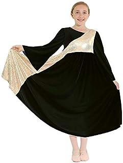 Danzcue Girls Shimmery Asymmetrical Bell Sleeve Dance Dress