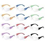 12 Stück stoß- und ballistische Schutzbrille mit transparenten Gläsern in verschiedenen Farben. Passt Kinder und Erwachsene