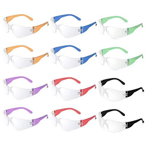 12 Stück stoß- und ballistische Schutzbrille mit transparenten Gläsern in verschiedenen Farben, transparent