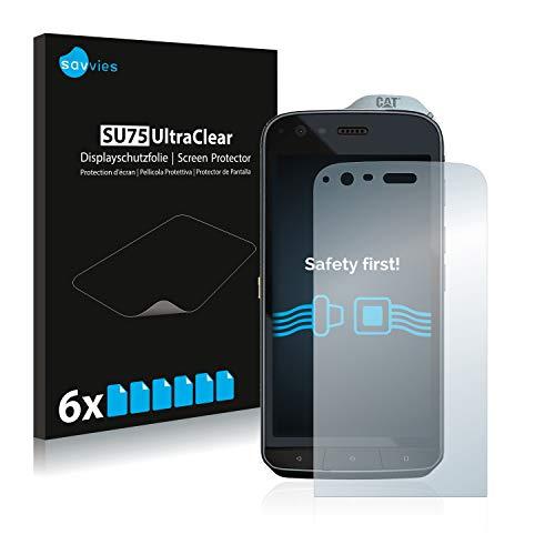 Savvies 6X Schutzfolie kompatibel mit Caterpillar Cat S61 Bildschirmschutz-Folie Ultra-transparent