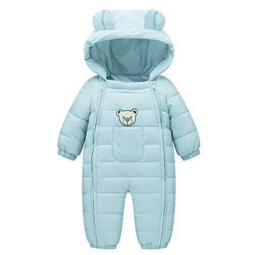 Baby Jungen Mädchen Romper Baumwollkleidung Gepolsterter Overall Langarm Hoodie Strampler Winter Dicke Baumwolle Warme Kleidung Jumpsuit Down-Overall, Hellblau, 12-18 Monate