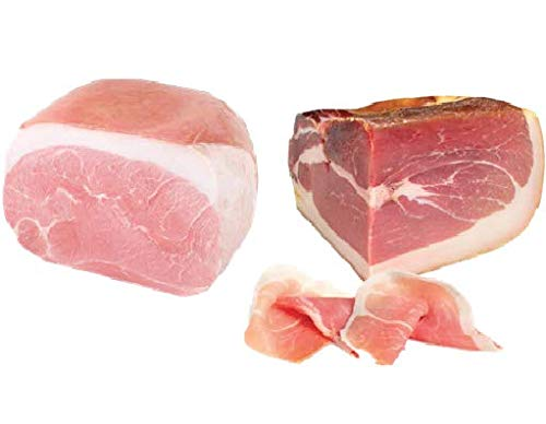 Fiorucci, Trancio di Prosciutto Crudo di montagna stagionatura 12 mesi 2,5 Kg Circa + trancio di prosciutto cotto spalla, c.a. 2 kg sottovuoto
