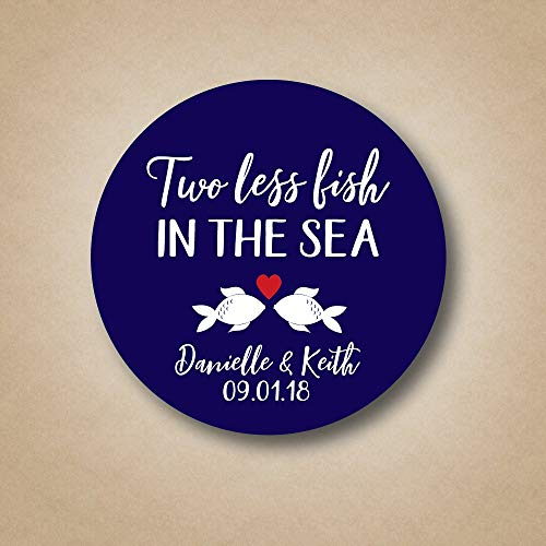 Wedding Stickers - Two Less Fish in the Sea