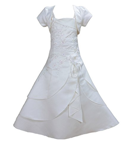 Cinda Mädchen Brautjungfer/Heilige Kommunion Kleid Elfenbein 134-140(10)