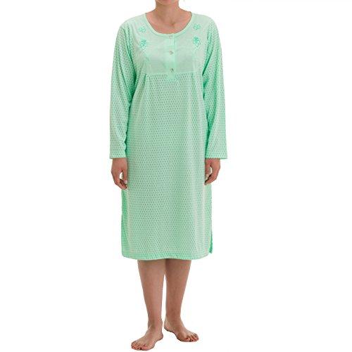 Zeitlos - Damen Nachthemd Fiona Langarm Schlafshirt Blumen Punkte, Farbe:Mint, Größe:XL