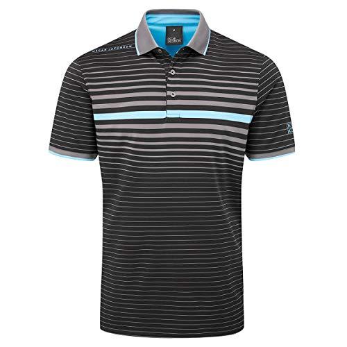 Oscar Jacobson Uomo Polo T-Shirt Maglietta Manica Corta Bottoni Nero/Carbone XL
