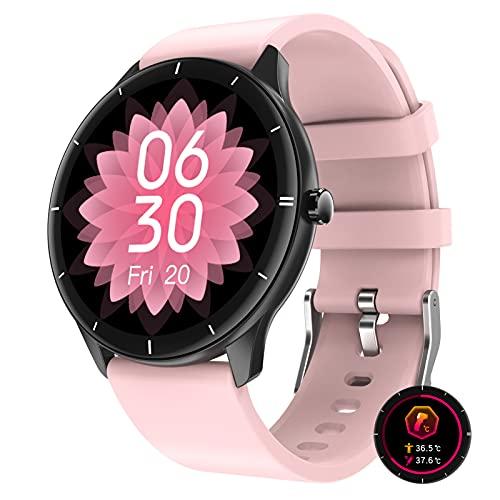 Smartwatch Reloj Inteligente Pantalla HD De 1,28' Pulsera De Actividad Inteligente Con Monitoreo De Temperatura Monitor De Sue?O Contador De Caloría Pulsómetros Podómetro Para Android Ios,Rosado
