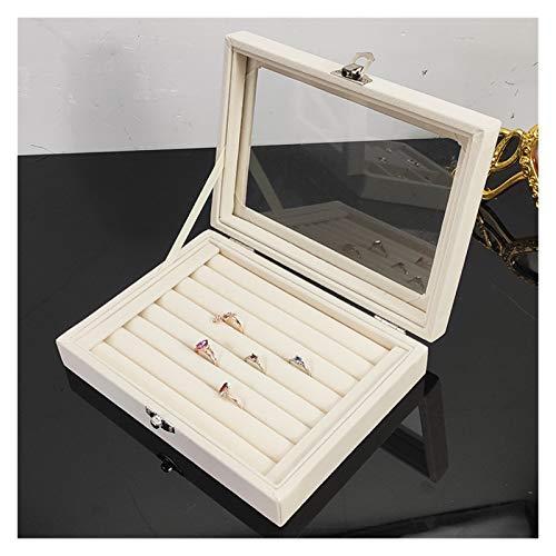 qazwsx Caja Organizadora De Exhibición De Joyería De Anillo De Joyería, Caja Organizadora De Terciopelo Portátil De Moda, (Color : A12)