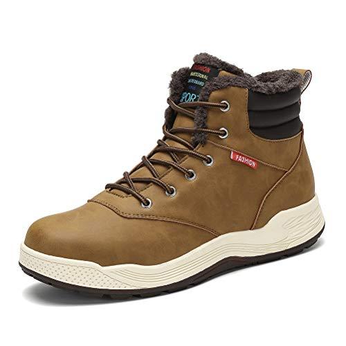 Dannto Hombre Botas de Nieve Al Aire Libre Senderismo Impermeables Deportes Trekking Zapatos Invierno Forro Piel Sneakers Calientes Botines(Marrón,41