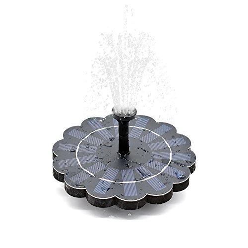 Fesjoy Solar Brunnenpumpe, 150L/H Mini Abnehmbarem Wasserpumpe Energie sparen mit 4-stufig Wasserfluss für Vogelbad Garten Teich Dekorativ Schwimmender Brunnen