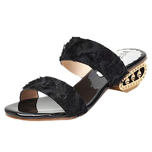 Xinantime dames Slip op sandalen lederen gevoerde Peep teen midden wighak muiltjes sandalen dames imitatieleer uitgesneden zomer lichtgewicht Low Mid wig sandalen schoenen vrije tijd