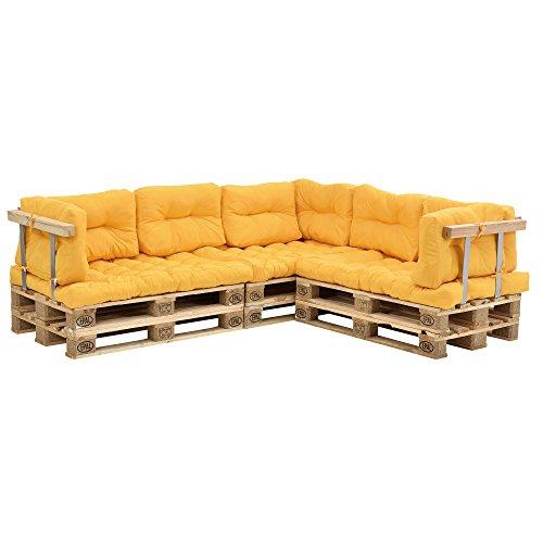 [en.casa] Coussins pour palettes - 11 pièces - Coussin de siège + Coussins de Dossier [moutard] Canapé de palettes in/Outdoor