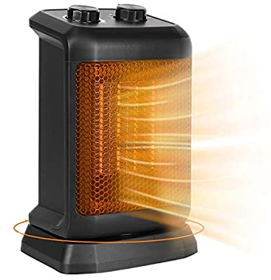 BEYOND BREEZE Small Space Heater, Ceramic Oscillating Portable Electric Heater, Space Heater with Tip-Over Switch, Overheat Protection, Adjustable Thermostat, Quiet and Safe for Indoor Use Office Bedroom Bathroom 750/1500W, Rotates 80°