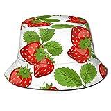 Gorras Patrón de la Naturaleza con Fresas Sombrero de Pescador Algodón Adultos Sombrero de Cubo Pesca de Verano Fisher Beach Festival Gorra para el Sol