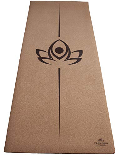 Tranquil Yogi Natural Yoga and Exercise Mat - Excellent Grip and Joint Protection, Includes Carry Strap. (Cork - 6mm)