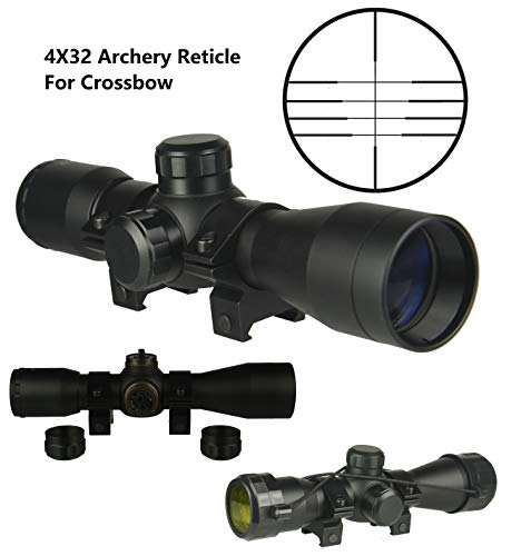 TWP 4x32 Compact Hunting Crossbow Archery Scope, Multiple Range Reticle, 1' Tube and Mid-Height Weaver Ring Mount