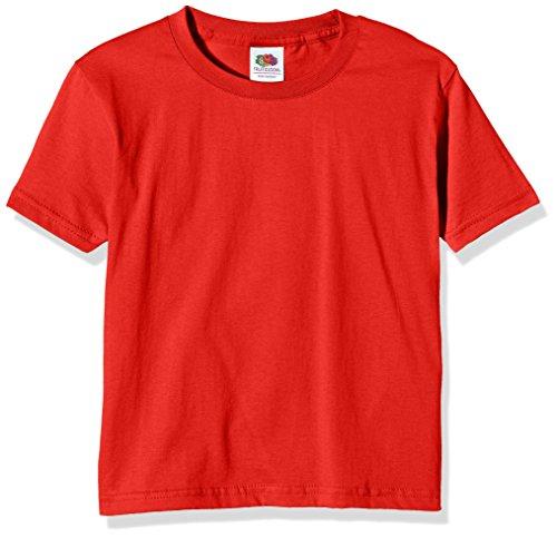 Fruit of the Loom Ss124b,T-Shirt Garçon,Rouge,9-11 ans