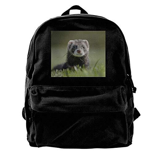 huatongxin Canvas Mochila Cute Ferret Polecat Weasel Mustela Rucksack Gym Hiking Laptop Shoulder Bag Daypack for Men Women