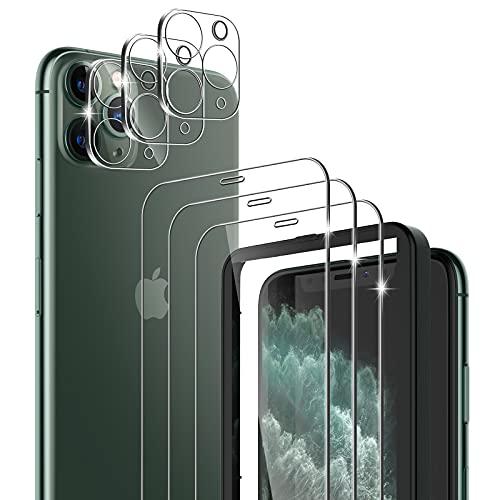 laxikoo 6 Pezzi Vetro Temperato Compatibile con iPhone 11 PRO Max, [3 Pezzi] Pellicola Vetro e [3 Pezzi] Pellicola Fotocamera, con Cornice di Allineamento, 9H Durezza Anti Graffio Protezione Schermo