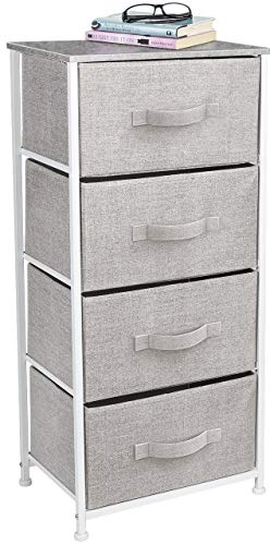 Sorbus Dresser with 4 Drawers - Tall Storage Tower Unit Organizer for Bedroom, Hallway, Closet, College Dorm - Chest Drawer for Clothes, Steel Frame, Wood Top, Easy Pull Fabric Bins (Gray)