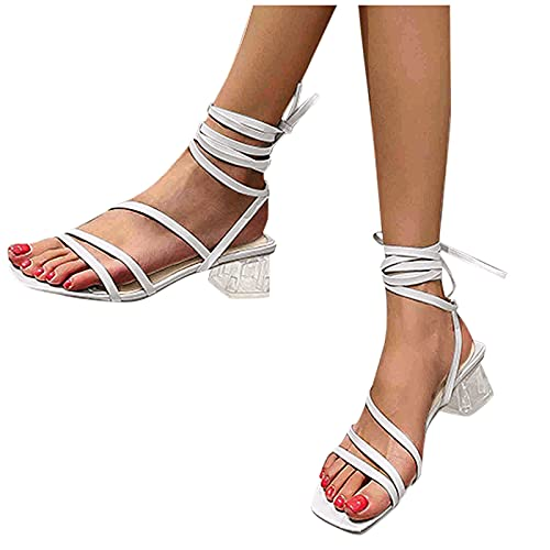 FeelFree+ Sandalias Mujer Bombas de Tacones Altos Zapatos Cuadradas de Tacón Bloque Cristal de Correa Fina Gran Tamaño Moda Verano Sandalias Fiesta Ocio Boda Noche Casual Sandalias