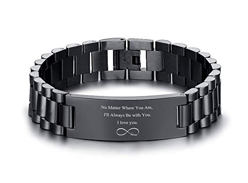 VNOX Personalized Engraved Love Quote Link Bracelet from Wife Anniversary Birthday Gifts to Lover Boyfriend Husband,Style 2