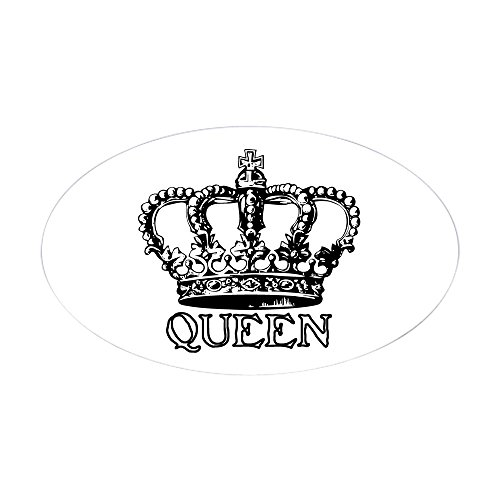 CafePress Ovaler Aufkleber, Queen Crown, Euro-Autoaufkleber